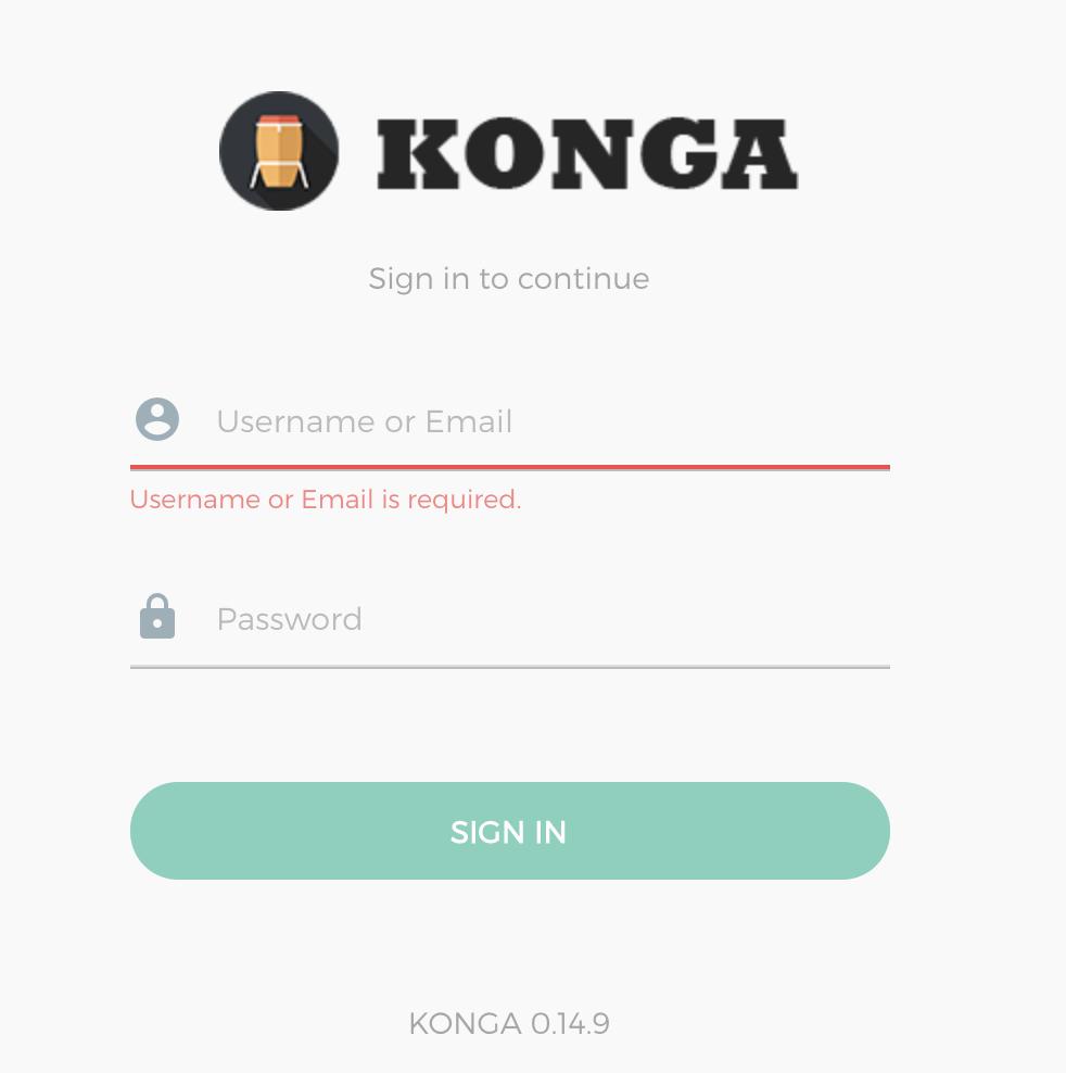 Konga 注册界面