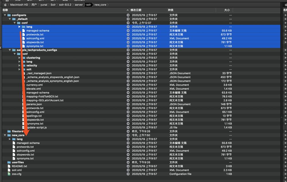 `configsets/_default/conf` 目录