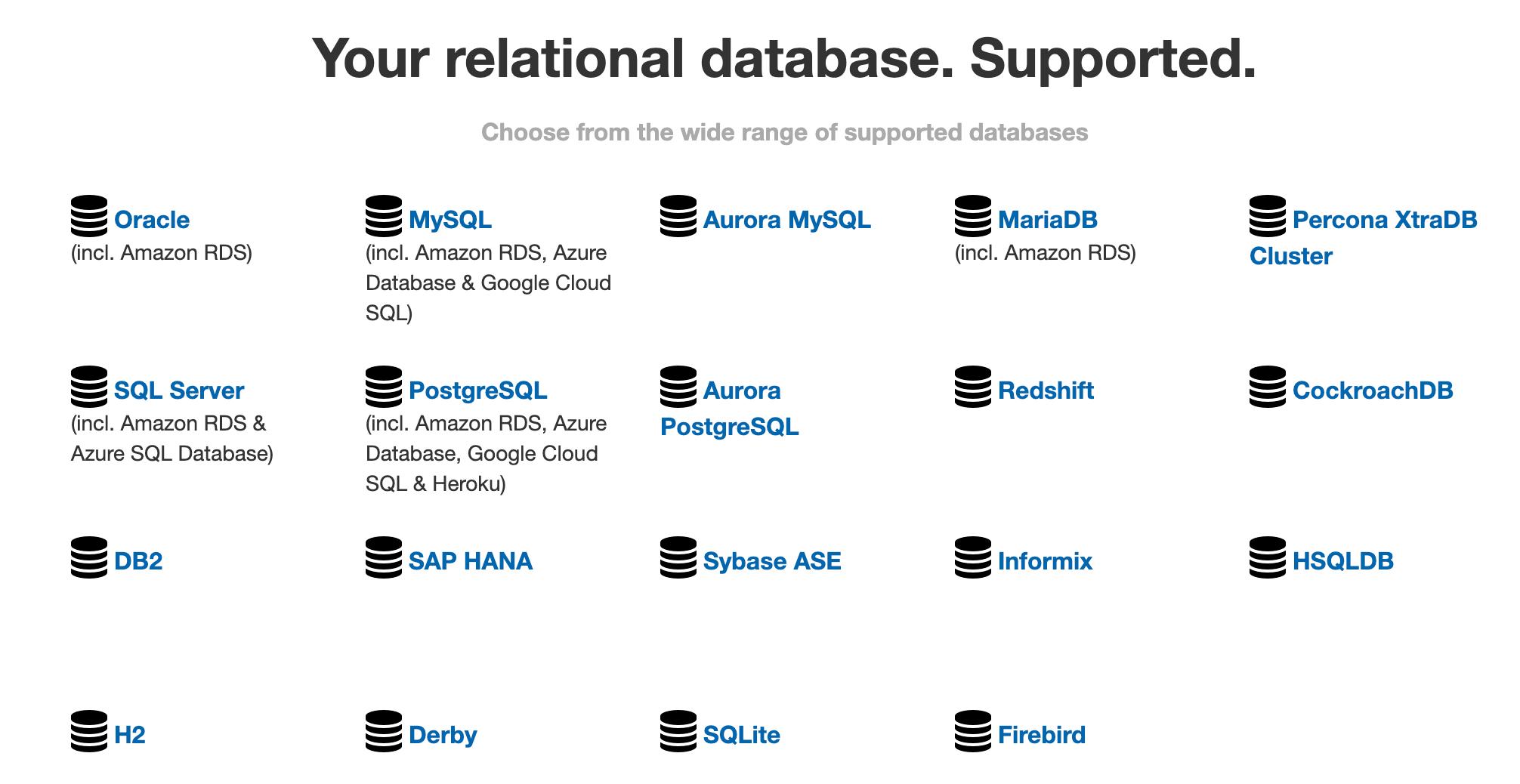 支持的数据库