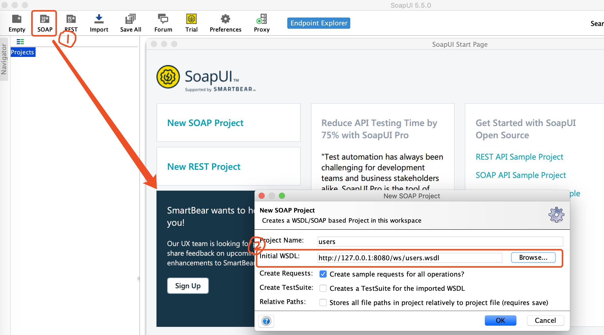 SoapUI 主界面 —— SOAP