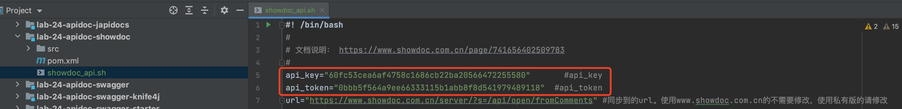 设置 `api_key` 和 `api_token` 秘钥对