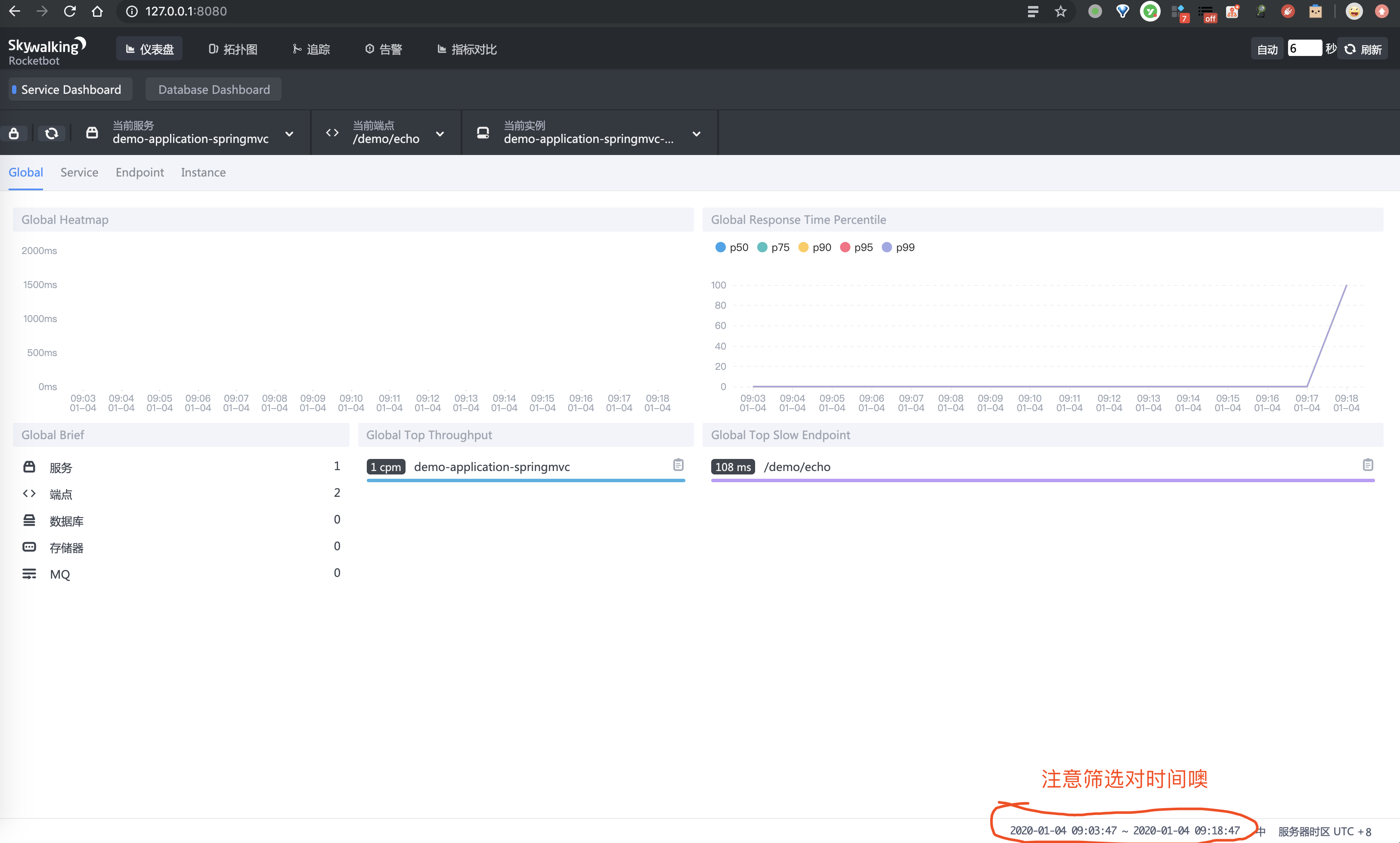 SkyWalking UI 界面 —— 仪表盘