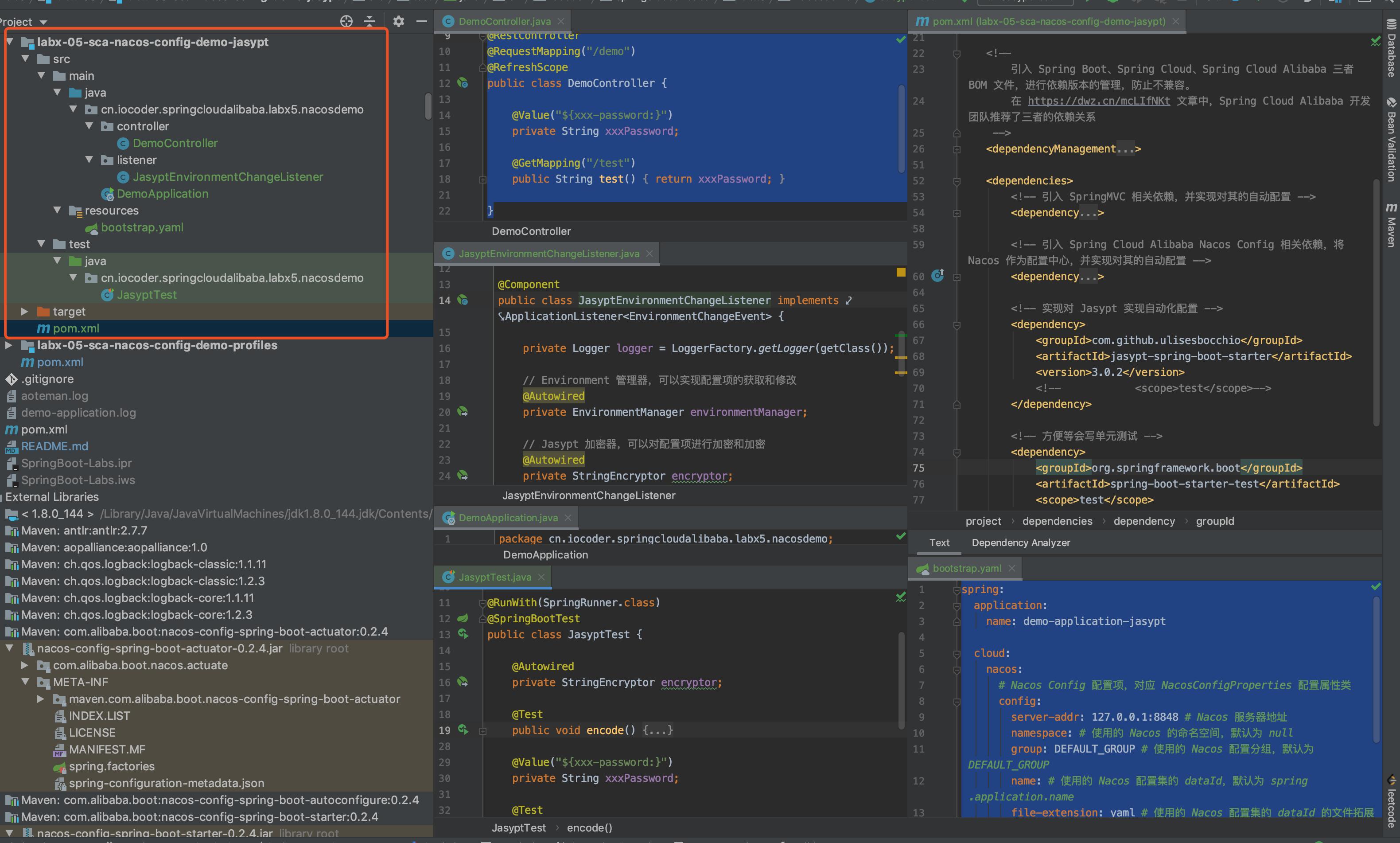 `labx-05-sca-nacos-config-demo-jasypt` 项目
