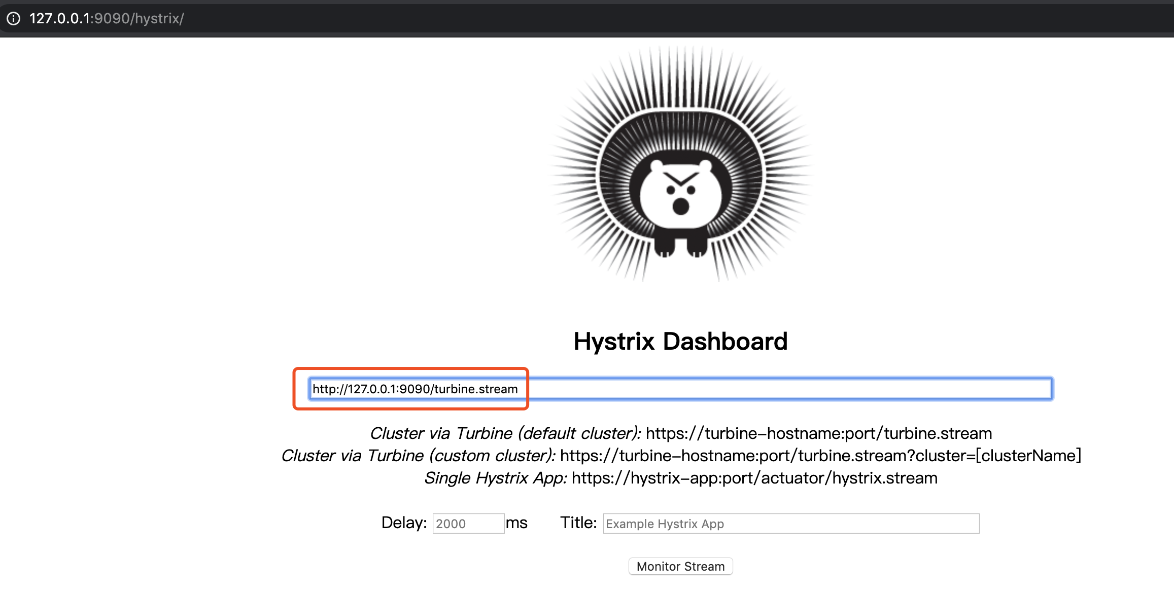 Hystrix Dashboard —— 首页