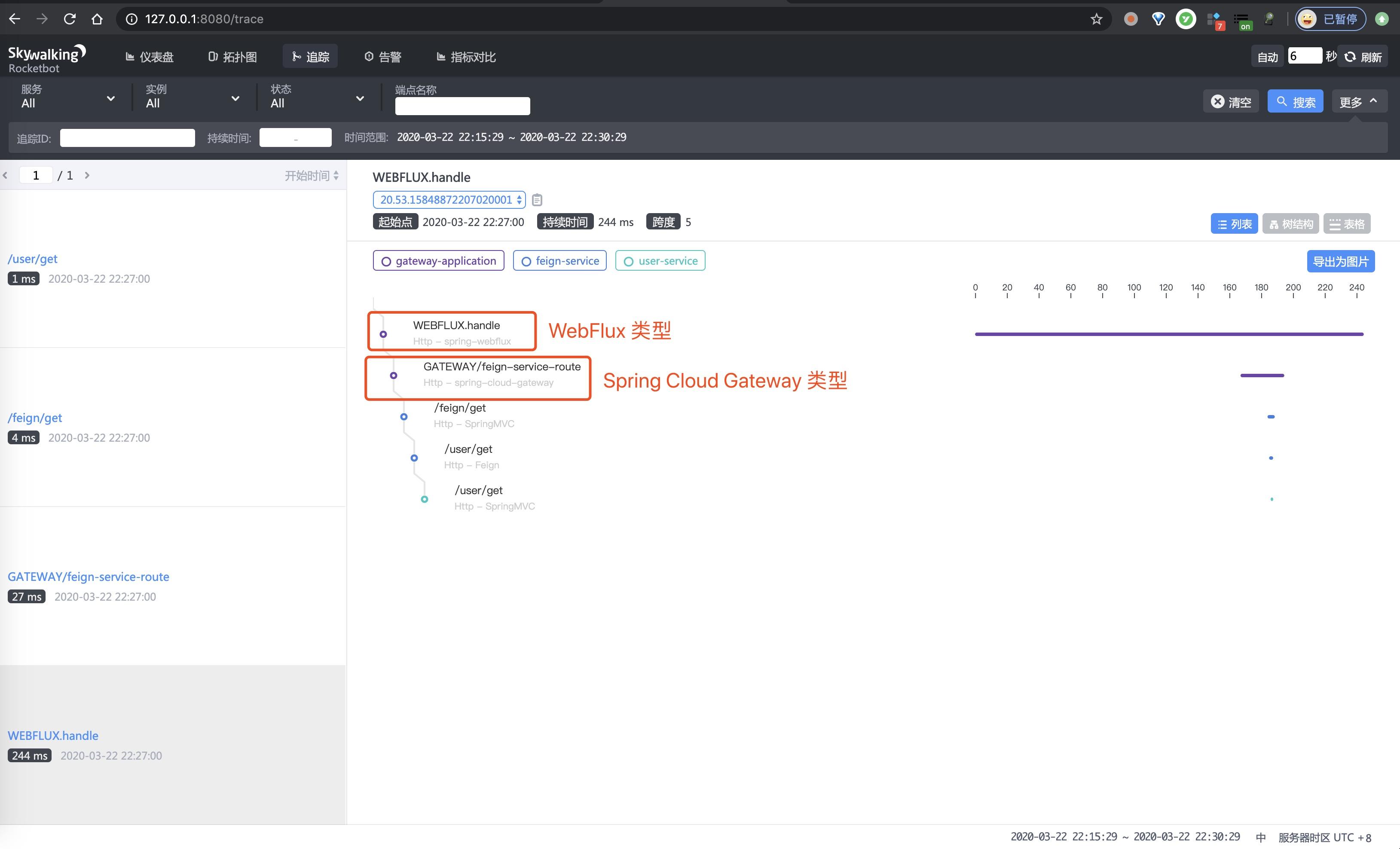 SkyWalking UI 界面 —— 追踪