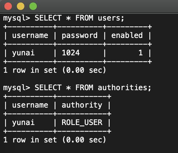 `users` 和 `authorities` 表记录